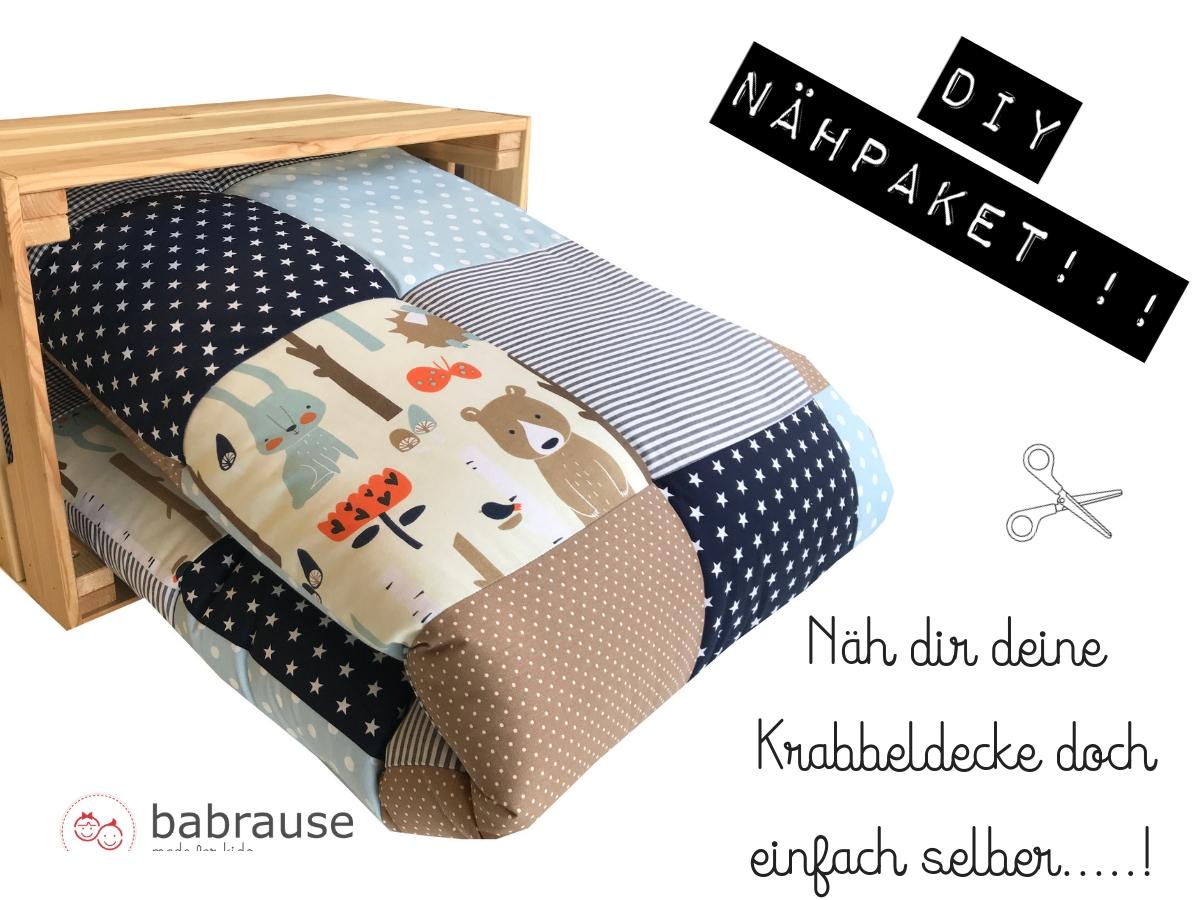 krabbeldecke diy n hpaket waldtiere blau braun stoff stoff shop stoffwerk siegen. Black Bedroom Furniture Sets. Home Design Ideas